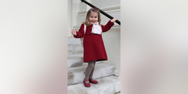 The Princess, who turns three in May, sported a red coat by the designer Amaia Kids with matching red shoes and red bow for her first day of school.