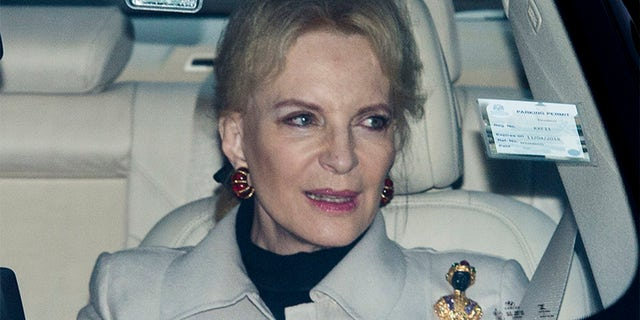 Princess Michael of Kent snapped in her car, arriving at the royal palace donning the controversial brooch.