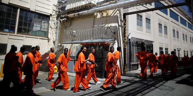 Inmates at the state prison in San Quentin, Calif.