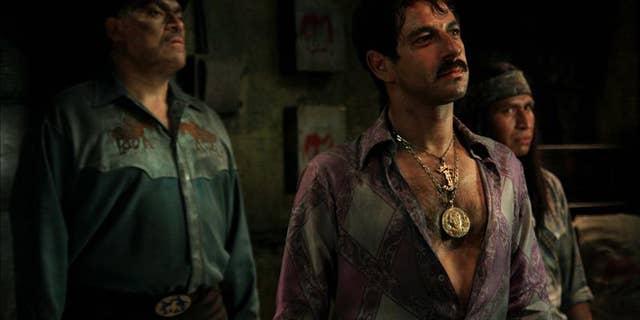 """Scene from the movie """"Saving Private Perez"""" showing actors Miguel Rodarte, Joaquin Cosio and Gerardo Taracena."""