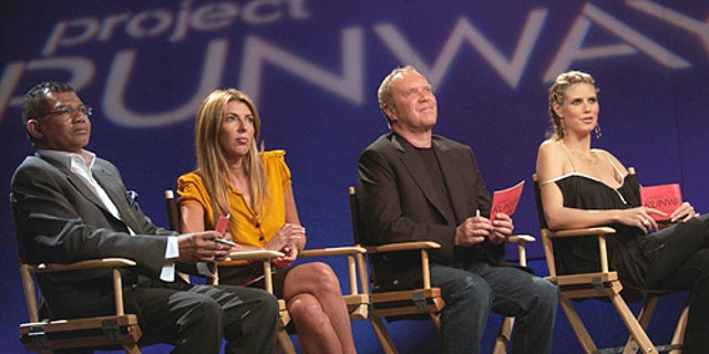 "PROJECT RUNWAY -- Bravo Original Series -- ""Episode 9"" -- Pictured: (l-r) Freddie Leiba, Nina Garcia, Michael Kors, Heidi Klum -- Bravo Photo: Barbara Nitke