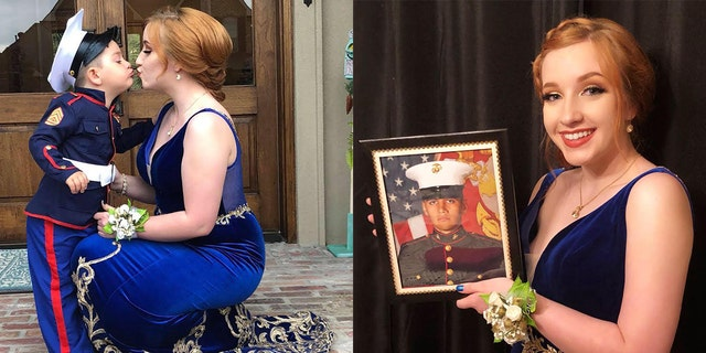18-year-old Skylar Fontaine's Marine boyfriend couldn't make it to the prom, so his little brother stepped in.
