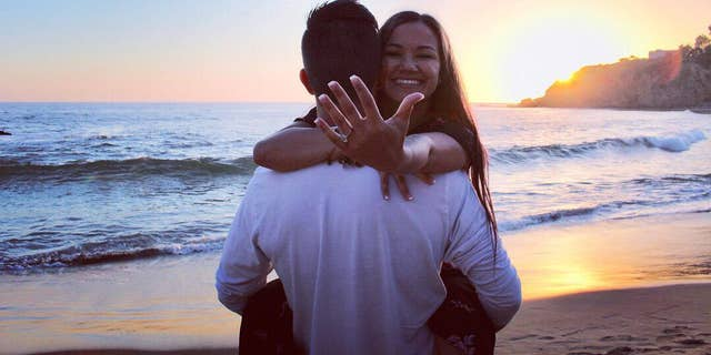 Helmick proposed to Lane on Laguna Beach.