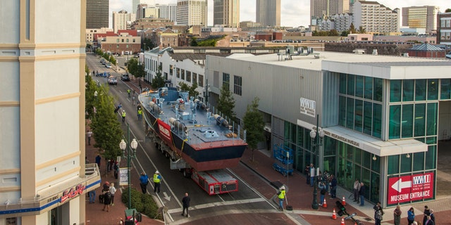 Nov. 19, 2016: PT-305, begins its journey through the streets of New Orleans to the Port of New Orleans.