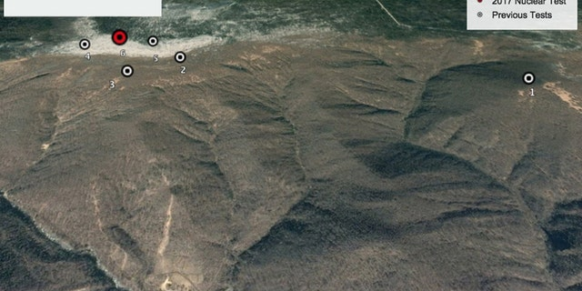 Google Earth image of Mt. Mantap in North Korea's Punggye-ri nuclear test site showing the locations of the nation's six nuclear bomb tests, including the Sept. 3, 2017, test (red), the largest, which lowered the mountain by 20 inches. (Courtesy of Google Earth)