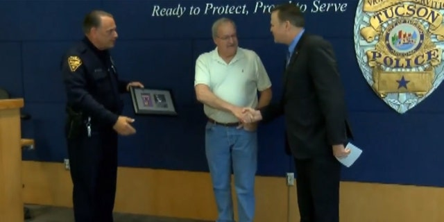 Glen Lyon was reunited with his grandfather's Purple Heart medal on Wednesday.