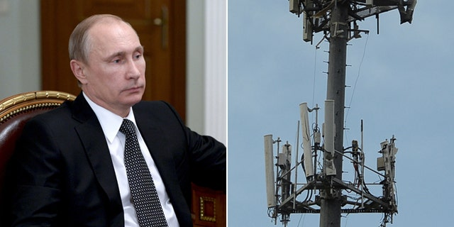 This Monday, Jan. 19, 2015 photo shows Russian President Vladimir Putin during a meeting outside Moscow, Russia and this May 21, 2013 file photo shows cell phone tower stands in Moore, Oklahoma.