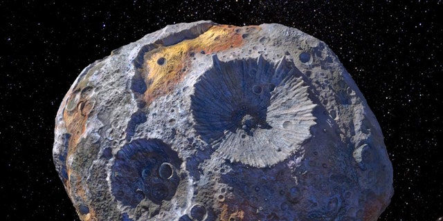 An artist's rendering of the massive metal asteroid Psyche, which orbits the sun between Mars and Jupiter.