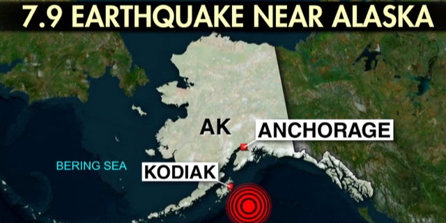 A map showing the location of a 7.9 magnitude earthquake early Tuesday off the coast of Alaska.