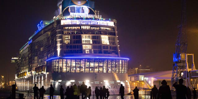 People gather to see the cruise ship Quantum of the Seas on October 31, 2014 in Southampton, England.