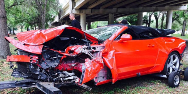 The Camaro's crumple zone apparently did its job because the driver survived without injury.