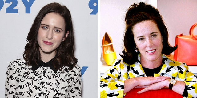Rachel Brosnahan (L) paid tribute to her late aunt Kate Spade (R) three years after the fashion designer's death.
