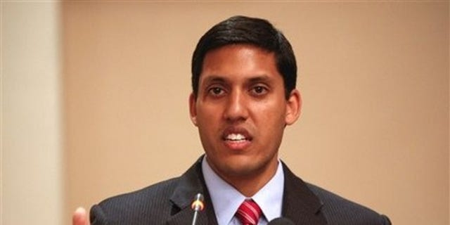 FILE: Rajiv Shah, administrator of United States Agency for the International Development (USAID), speaks to the media at a hotel in Islamabad, Pakistan, Wednesday, April 14, 2010.