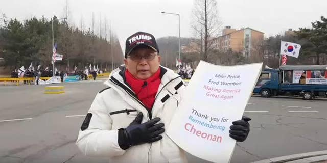 Casey Ilsun Kim, president of one prominent activist group, the Korean Patriotic Citizens' Assembly's Indictment (KPCA) at a rally this month welcoming Vice President Mike Pence.