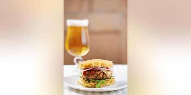 Burger with ramen and sri racha sauce