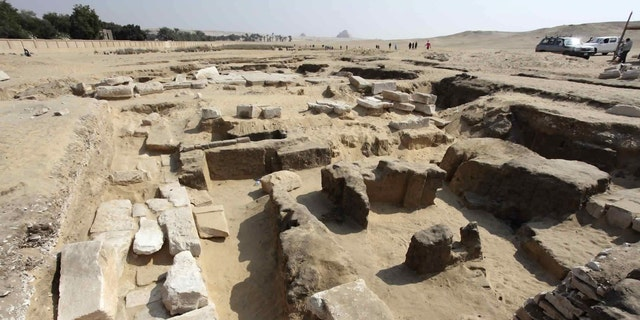 This undated photo released by the Egyptian Ministry of Antiquities shows the remains of a recently discovered temple for King Ramses II, in Abusir, southwest of Cairo. The discovery was made near the step pyramid of Saqqara (Egyptian Ministry of Antiquities via AP)