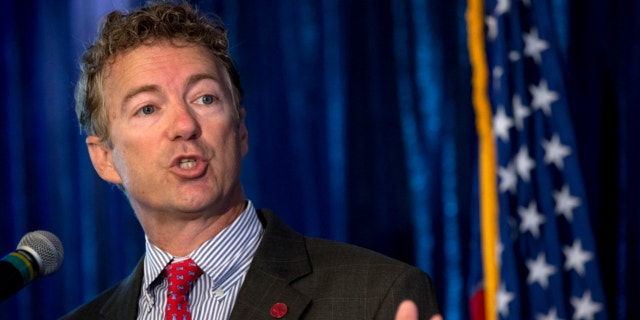 June 12, 2013: Sen. Rand Paul, R-Ky. gestures as he speaks in Washington.