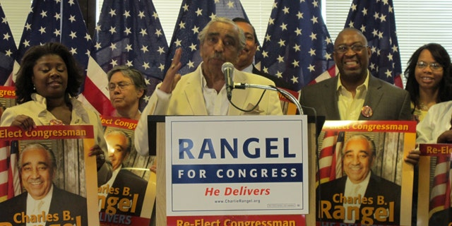Rep. Charlie Rangel, surrounded by supporters, holds a press conference addressing the pending ethics allegations against him. (FNC)