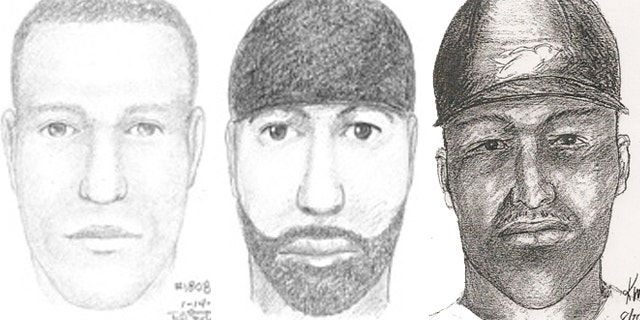 Above are three sketches of the serial rapist who authorities say attacked at least 12 times from 1997 to 2009 (FBI).
