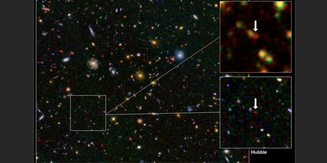This image from the Hubble and Spitzer space telescopes shows one of the most distant galaxies known, called GN-108036, dating back to 750 million years after the Big Bang that created our universe. The galaxy's light took 12.9 billion years to reach us.