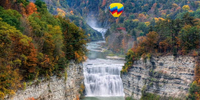 Hot Air Balloon Over The Middle Falls At Letchworth State Park In New York