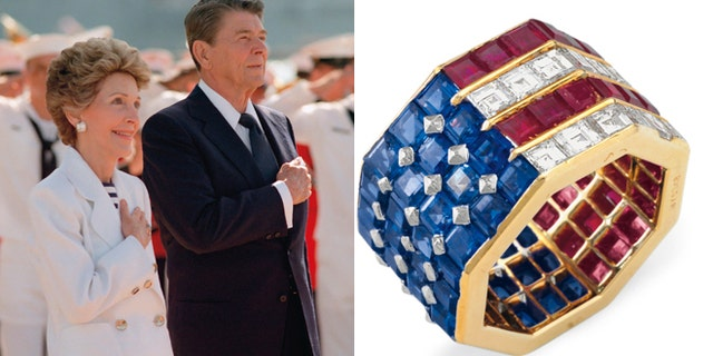 On left, President Ronald Reagan and first lady Nancy Reagan, and on right, a diamond, sapphire and ruby ring belonging to Mrs. Reagan.