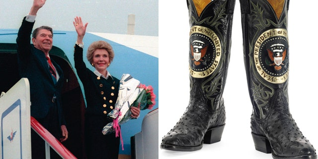 On left, then-President Ronald Reagan and first lady Nancy Reagan, on right a personalized set of cowboy boots.