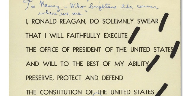 The written oath was used by Reagan to practice for his swearing-in ceremony in 1981.