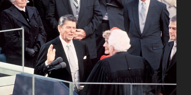 Reagan was sworn in by Chief Justice Warren Burger in 1981.