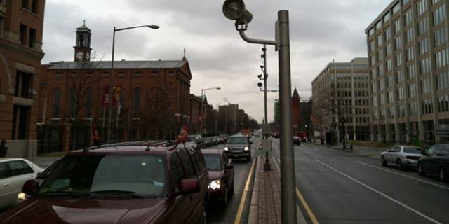 A typical red light camera setup.
