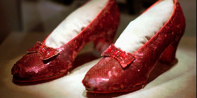 This April 10, 1996, file photo shows one of the four pairs of ruby slippers worn by Judy Garland in the 1939 film.
