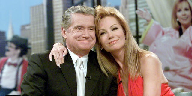 "Regis Philbin and Kathie Lee Gifford at her final appearance on ""Live With Regis and Kathie Lee."""