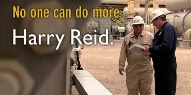 Shown here is a screen shot of a new ad for Sen. Harry Reid's campaign. (YouTube)