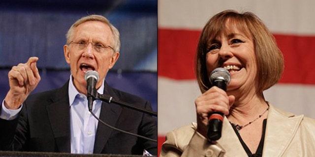 Shown here are Senate Majority Leader Harry Reid, left, and Nevada Republican Senate nominee Sharron Angle. (AP Photos)