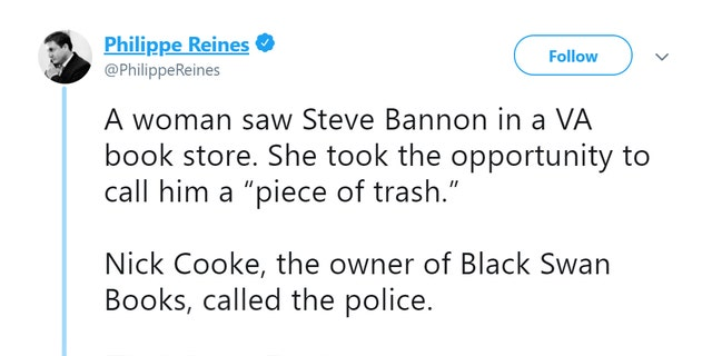 Philippe Reines posted the contact information of the bookstore where Steve Bannon was confronted.
