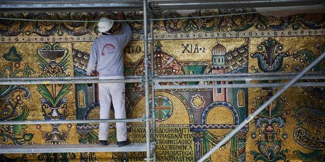 File photo of renovations at Bethlehem's Church of the Nativity. (AP Photo/Nasser Nasser)
