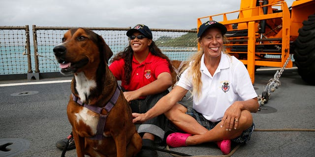 Fuiava, Appel and their two dogs were rescued by the USS Ashland months after their boat became adrift in the Pacific.