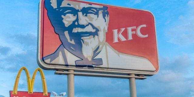 KFC and McDonald's in Miami, Florida, USA.