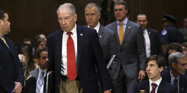 July 21, 2015: U.S. Senate Judiciary Committee Chairman Charles Grassley (R-Iowa) leads Republican members of the committee into a hearing.