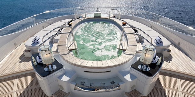 The main jacuzzi has more than enough room for a dozen of your closest friends.