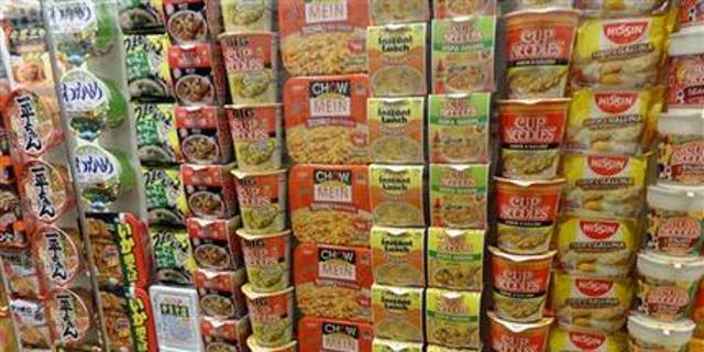 This Oct. 17, 2014 photo provided by Linda Lombardi shows a variety of instant ramen soup packages on display at the Cup Noodle Museum in Yokohama, Japan. The museum honors the inventor of instant ramen with exhibits about the history and varieties of the soup. (AP Photo/Linda Lombardi)