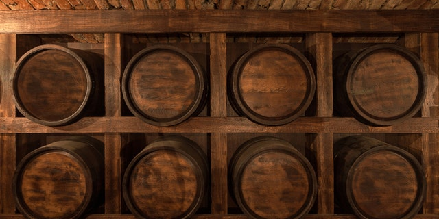 rack of barrels of alcohol