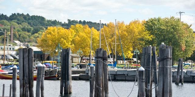 Burlington, VT, USA: Boats line the docks on the Burlington, VT waterfront on this sunny autumn afternoon.