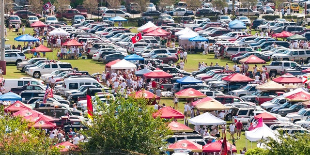Tallahassee, FL - Sept. 26, 2009:  Tailgating in parking lot before Florida State vs Southern Florida football game. Univeristy athletic departments rely on post-game tailgating parties to build support for their team.