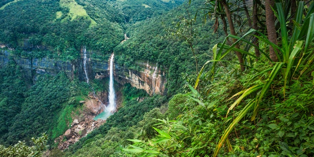 Cherrapunjee, Meghalaya, India: Nohkalikai waterfalls set in high cliffs and thick forests and mountain slope in the Khasi Hills near the small town of Cherrapunjee which is said to be the wettest place on earth. Cherrapunjee is in Meghalaya, north east India. This shot was taken in the early morning.