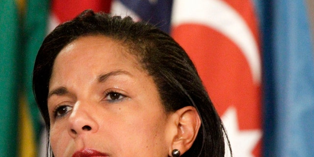 FILE: June 7, 2012: Then-U.S. Ambassador to the U.N. Susan Rice at United Nations headquarters in New York, N.Y.