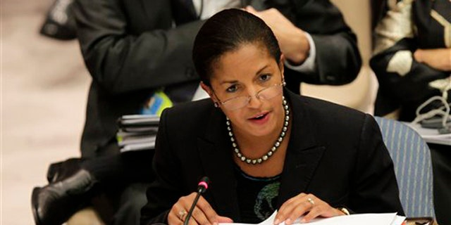 FILE: Undated: The U.S. Ambassador to the United Nations Susan Rice speaks at the General Assembly headquarters in New York.