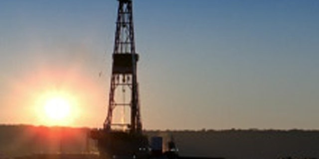 Shown here is a North Dakota oil rig.