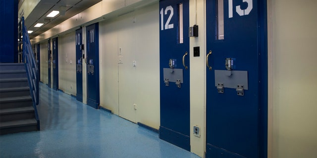 Jail cells are seen in the Enhanced Supervision Housing Unit at the Rikers Island Correctional facility in New York.