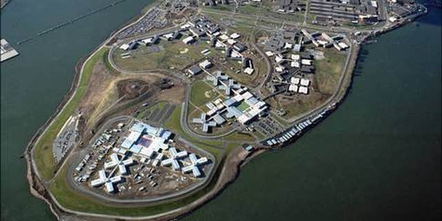 An aerial view of the Rikers Island Prison Complex, which sits on the East River between the Bronx and Queens, in New York City.